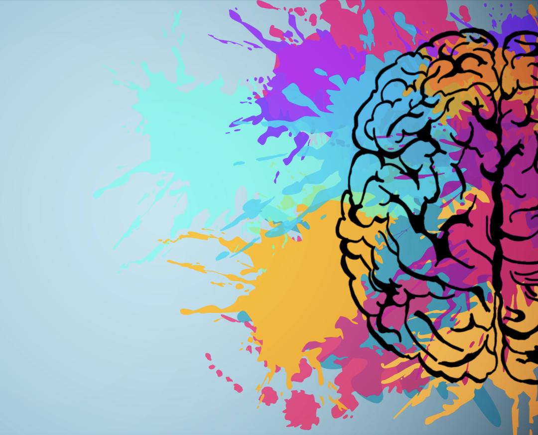 Künstlerische Zeichnung von einem Gehirn